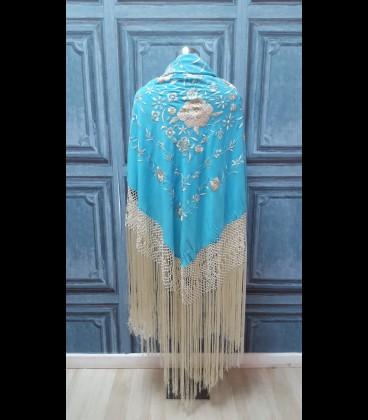 Mantón de seda para bailar en color turquesa-beige (semi-profesional)
