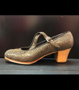 Professional brown snakeskin flamenco shoes Dos Correas Gallardo