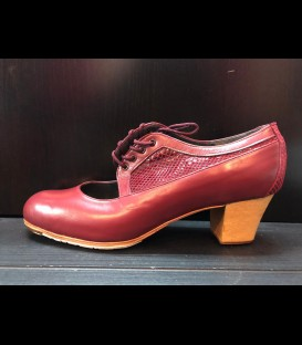 Professional flamenco shoes in color burgundy Fantova Gallardo