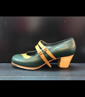 Professional flamenco shoes in dark green color Mercedes Gallardo