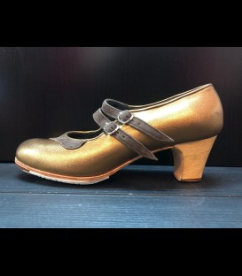 Professional flamenco shoes in bronce color Mercedes Gallardo
