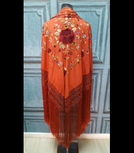 Professional flamenco dancing shawl in color carnation