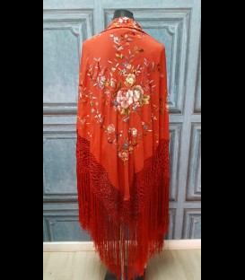Professional flamenco dancing shawl in color coral