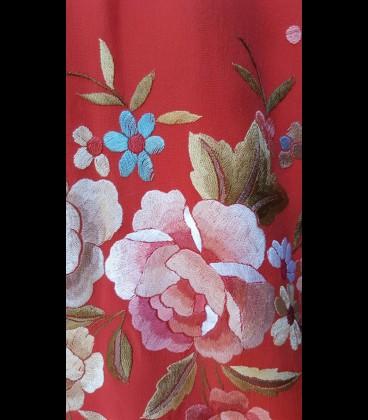 Mantón de seda coral para bailar (profesional)