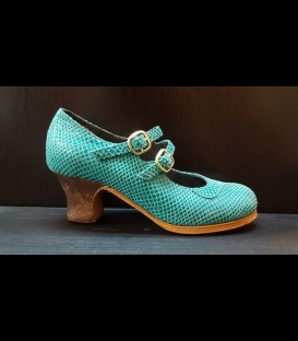Professional flamenco shoes in aquamarine color Luna Flamenca