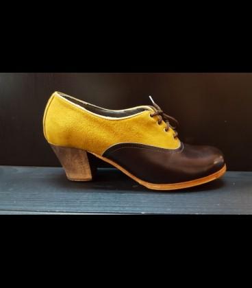 Zapatos Abotinados Luna Flamenca Beige Oscuro/Marrón