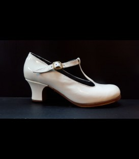 Professional Flamenco Shoes in color white Luna Flamenca