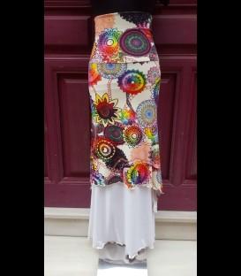Falda Doblada Asimétrica estampada mandalas/blanca