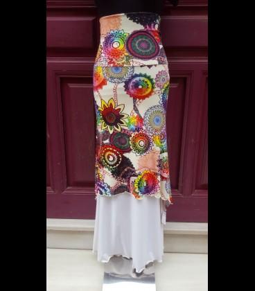 Flamenco skirt Doblada Asimétrica mandala print/white