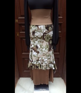 Flamenco skirt Guajira patterned/brown