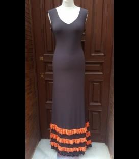 Vestido 12 Ancho marron/naranja volantes encaje