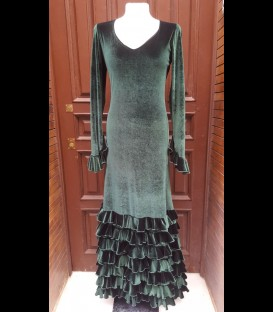 Flamenco dress dark green velvet