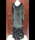 Vestido de flamenco terciopelo verde oscuro