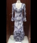 Vestido de flamenco 8 Pico terciopelo estampado gris