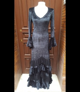 Flamenco dress Amanecer black wrinkled velvet