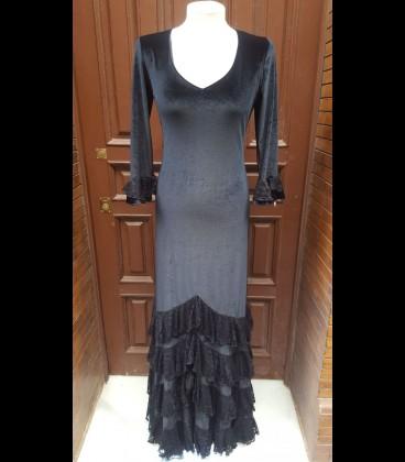 Vestido de flamenco Amanecer terciopelo/encaje negro