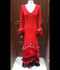 Vestido de flamenco Amanecer rojo volantes variados