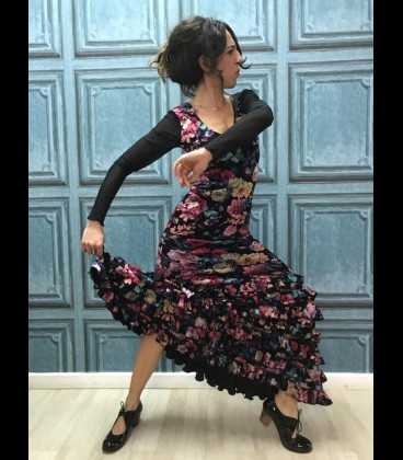 Vestido de flamenco negro estampado flores