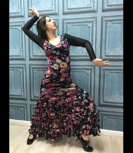 Flamenco dress black with flower pattern