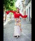 Flamenco skirt Guajira butterfly pattern, light beige underskirt
