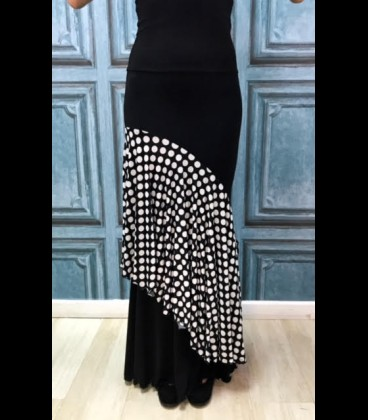 Falda flamenca Luna Doblada negra lunares blancos