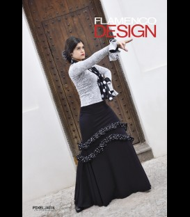 Flamenco skirt Puerto black with white polka dots