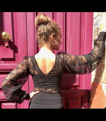 Blusa flamenca Claudia encaje negro