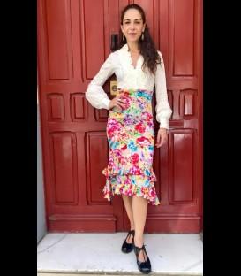 Falda flamenca Doble Volante beige estampado flores