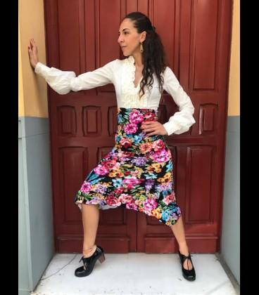 Flamenco skirt 21 black with flower pattern