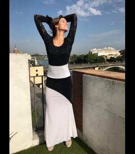 Falda flamenca Luna larga blanca con negro