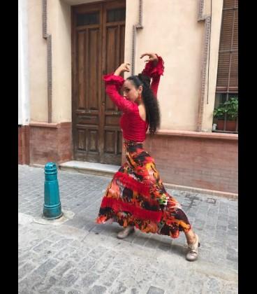 Falda flamenca Fuego Fleco