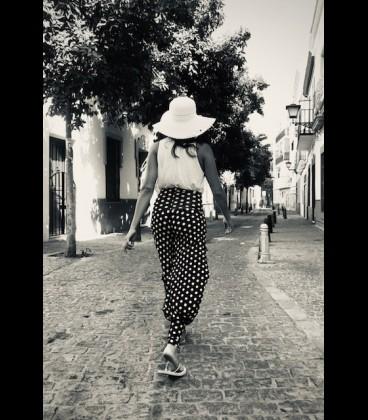 Pantalón de flamenco para ensayo gris flores
