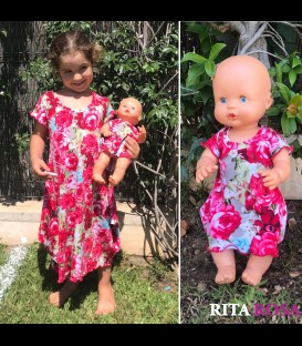 Cloe dress roses cotton