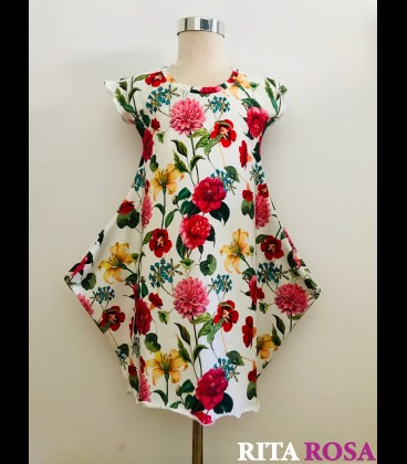 Cloe dress roses cotton