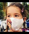 Mascarilla para niñas de tela homologada hidrófugo (25 lavadas) princesa