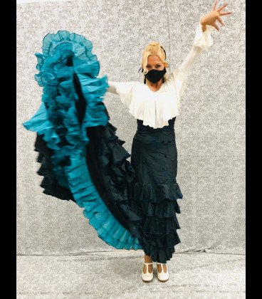 Unica Bata de cola professional azul-turquesa bordado