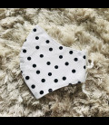 Mascarilla flamenca blanco para adultos de tela homologada hidrófugo (25 lavadas) lunares
