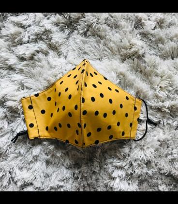 Mascarilla flamenca amarilla para adultos de tela homologada hidrófugo (25 lavadas) lunares