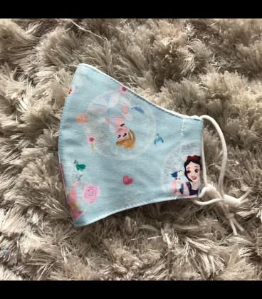 Mascarilla para niñas de tela homologada hidrófugo (25 lavadas) princesa azul