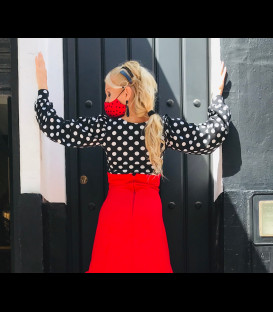 Blouse Claudia in color black with white polka dots