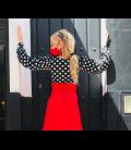 Blusa flamenca Claudia negra con lunares blancos