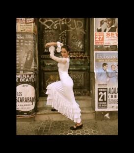 Falda flamenca profesional modelo SOL lycra con encaje (4 volant)
