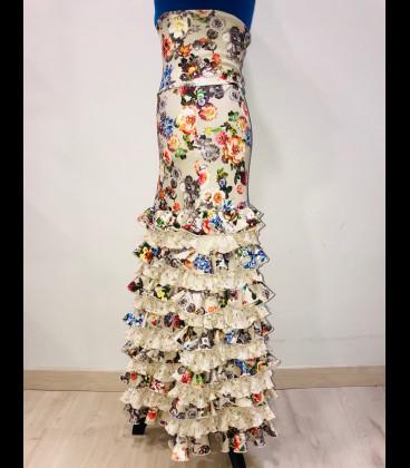 Falda flamenco profesional modelo minivolantes lflores beige